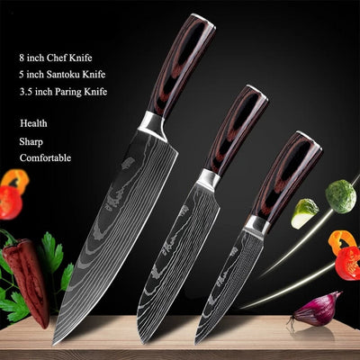 Japanese premium kitchen knives - Laser Damascus pattern chef's knife - Blindly Shop