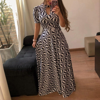 Women elegant short sleeve party Dress - Trendy Printed Pullover Maxi Dress - Blindly Shop
