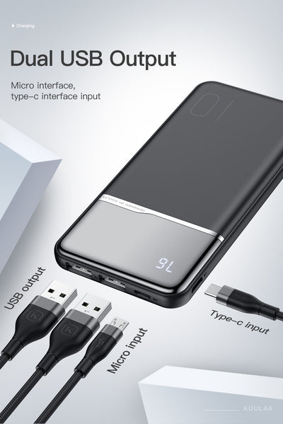Portable Charging  10000mAh PowerBank with digital status display - Blindly Shop