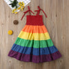 2-7 Years Girl's Rainbow Pageant Party Princess Dress