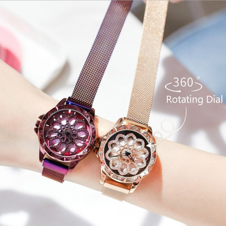 360 Degree Rotating Diamond Dial Watches - Blindly Shop