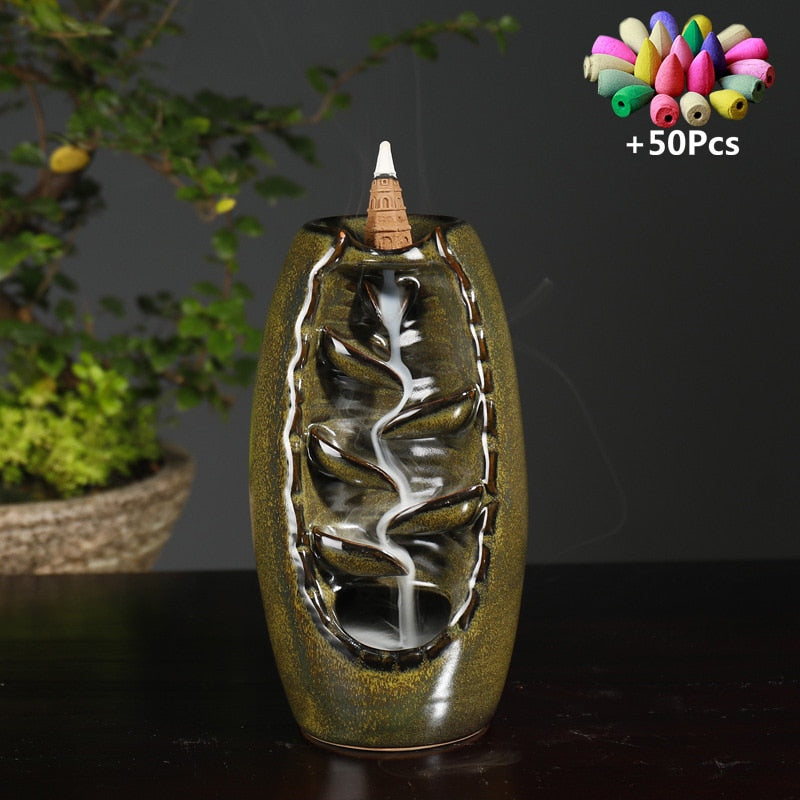 Waterfall Shaped Ceramic Incense Holder