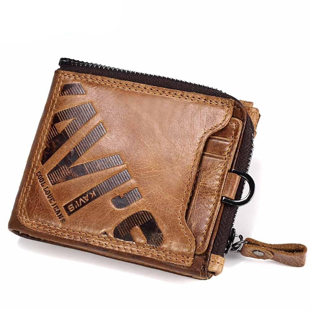 Male Crazy Horse Genuine Leather Wallet and Coin Purse