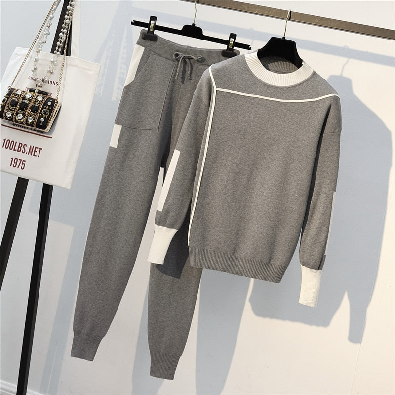 Woman Knit Casual Crewneck Sweater Suits Two Piece Set