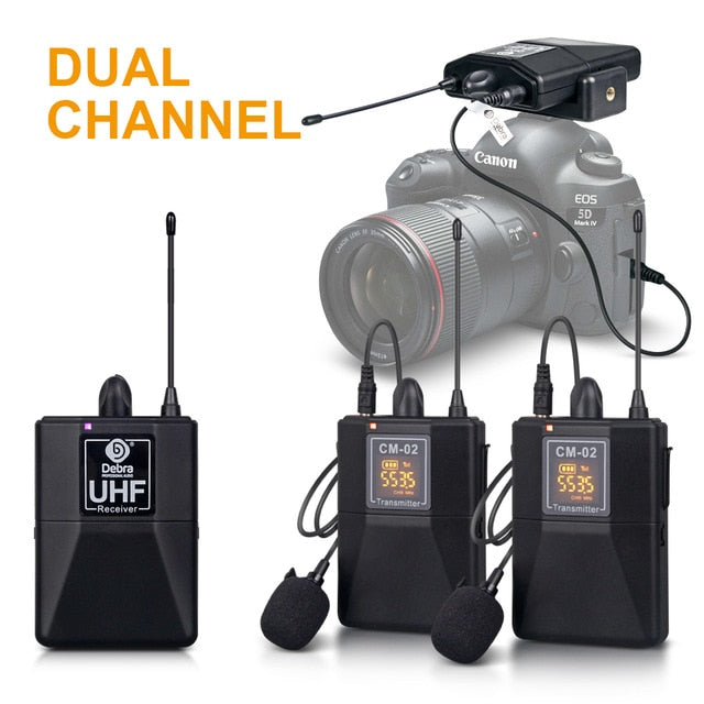 Wireless Lavalier Microphone system for DSLR Cameras, Phones, Spekers.