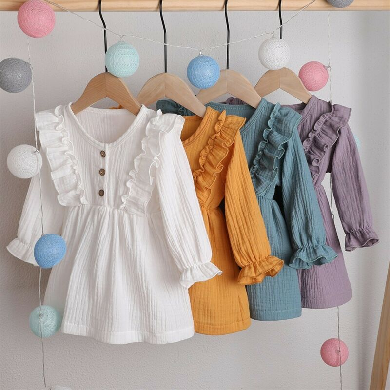 Ruffles Long Sleeve Solid Cotton Party Dress for girl