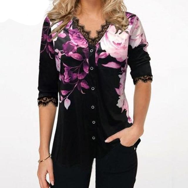 Lace Splice Loose Women's Tops - Blindly Shop