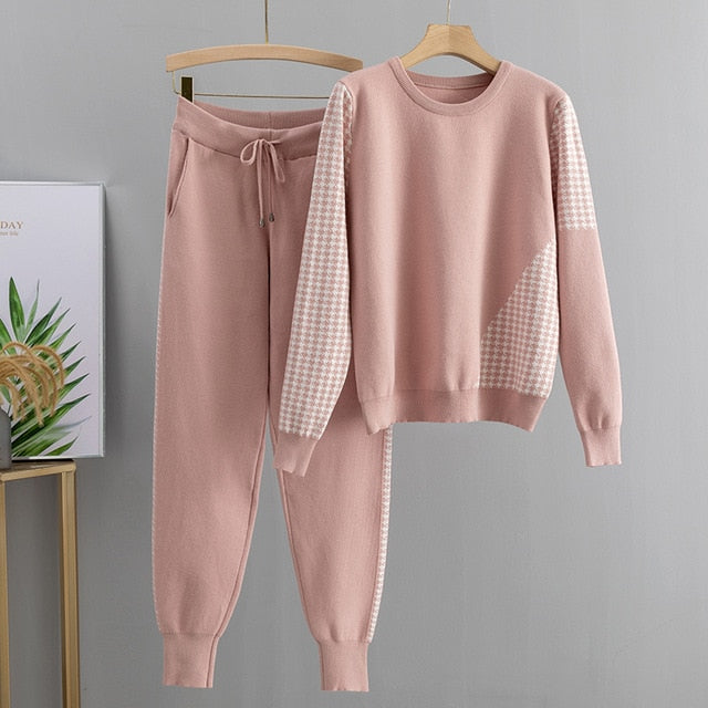 Jacquard Knit 2 Piece sweater Tracksuits Set for women