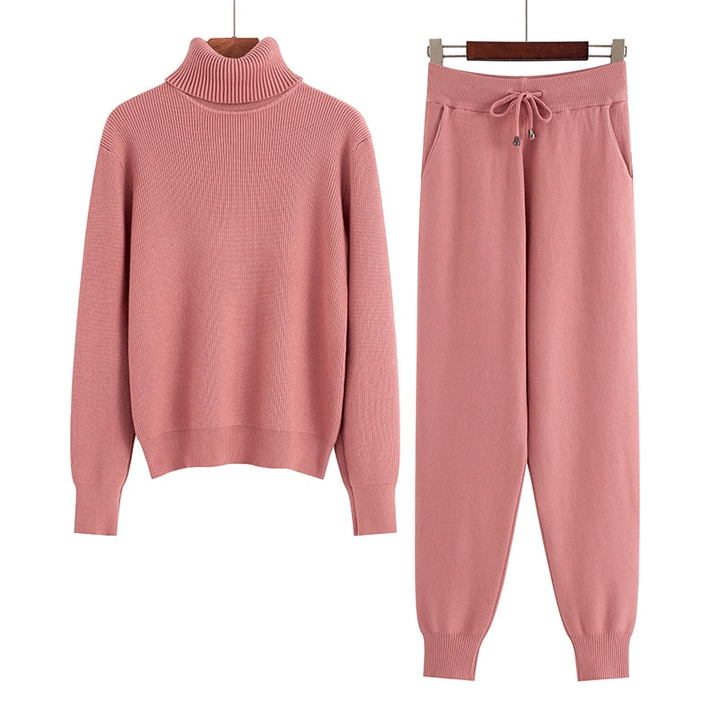 Women Two Piece Thick Warm Turtleneck Sweater set