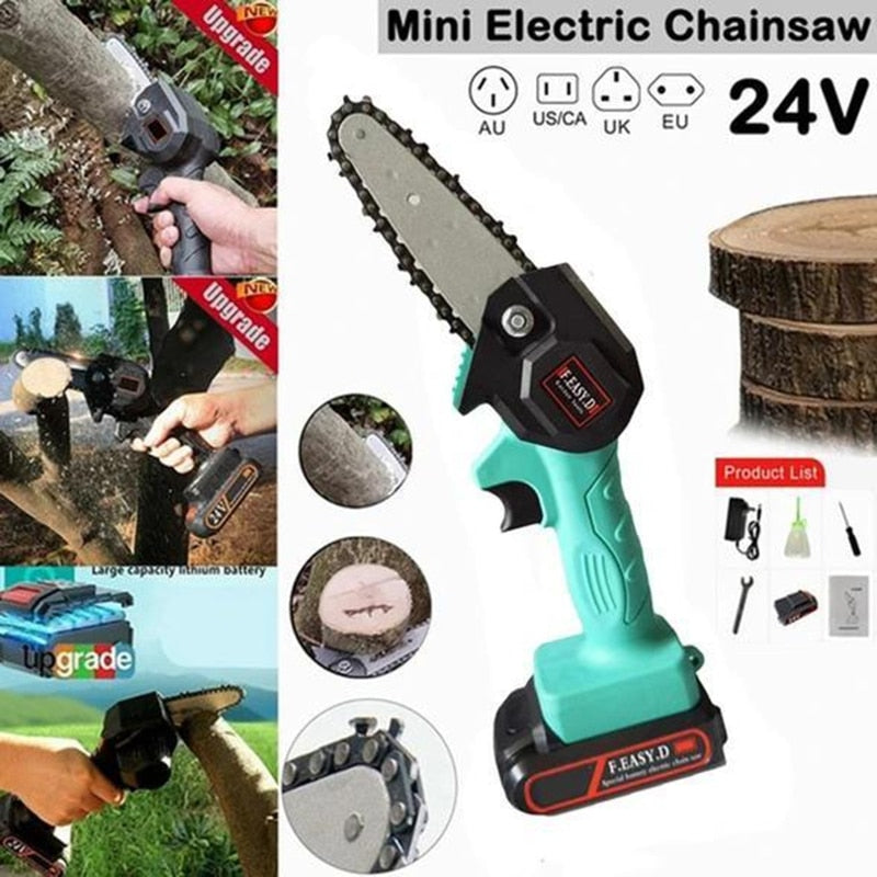Blue Rechargeable Mini Electric Lithium Chainsaw