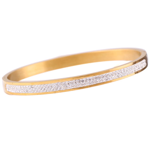 crystal rhinestone pave stainless steel love bangles for women - Blindly Shop