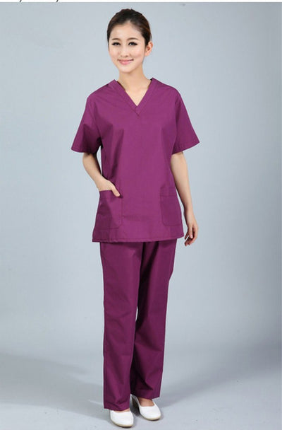 New premium Women's V neck  Nurse Uniform SET Hospital Medical Scrub Set Clothes Short Sleeve Surgical Scrubs - Blindly Shop