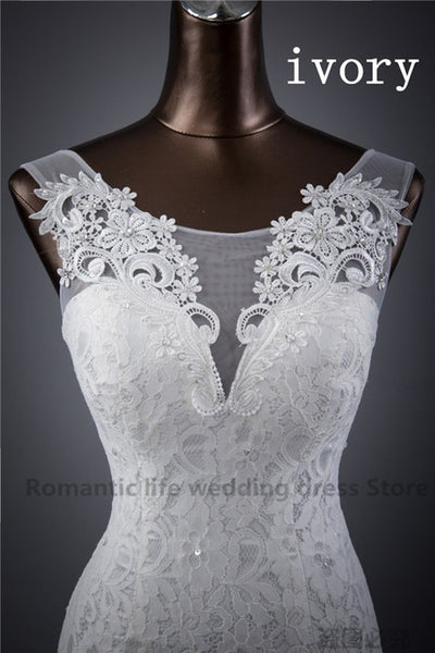 PREMIUM Elegant beautiful lace flowers mermaid Wedding Dresses vestidos de noiva robe de mariage bridal dress - Blindly Shop