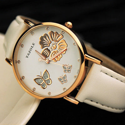 Classic Butterfly Flower Bling Genuine Leather Quartz Wrist watch - Blindly Shop
