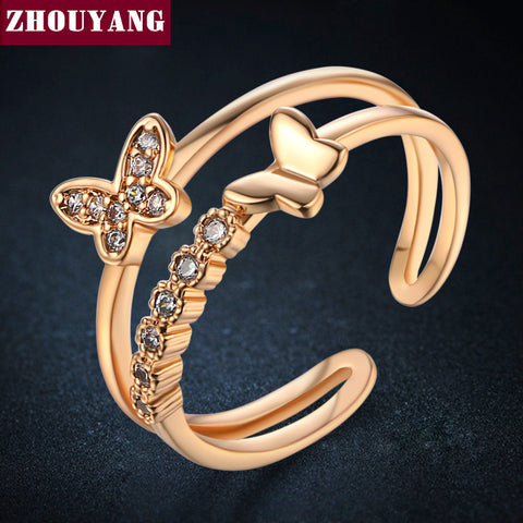 Butterfly Cubic Zirconia Rose Gold Color Fashion Resizable Ring Jewelry For Women Party ZYR349-5 ZYR350-1 - Blindly Shop