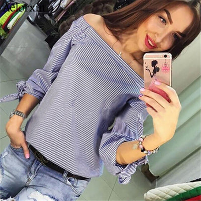 Women Elegant Bow Blue Off Shoulder Blouse - Blindly Shop