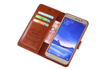 PREMIUM Wallet PU Leather Cover For Xiaomi Redmi Note 3 Book Style Cell Phone Case - Blindly Shop