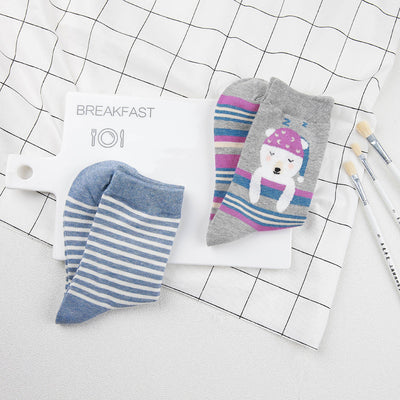 New 18 style Cute animals lovely cartoon cotton socks Dot stripe Creative colorful fashion socks - Blindly Shop