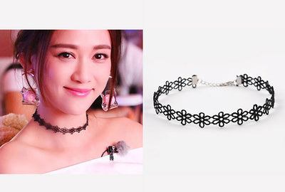15 Pcs/pack Choker Necklace Black Lace Leather Velvet strip for women - Blindly Shop