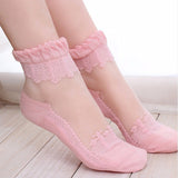Amazing Ultra thin Transparent Crystal Silk Lace Elastic Women's Short Socks - Blindly Shop