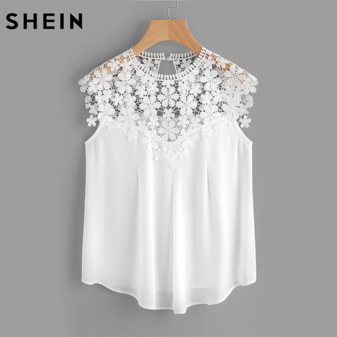 Lace Shoulder Shell Top for Women.