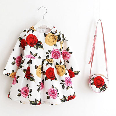 Princess Girls Dress  Autumn Brand Children Christmas Dress with Bag Printed Kids Dresses for Girls Clothing - Blindly Shop