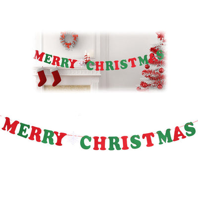 Non-woven Fabric Xmas Flags Santa Clause Floral Bunting Banners Merry Christmas Decoration. - Blindly Shop