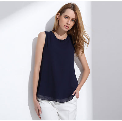 Shirt Women Summer Chiffon Tops White Sleeveless Blouses For Women - Blindly Shop
