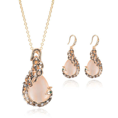 Bridal Crystal Wedding Jewelry Set - Alloy Necklace & Rhinestone Earrings - Blindly Shop