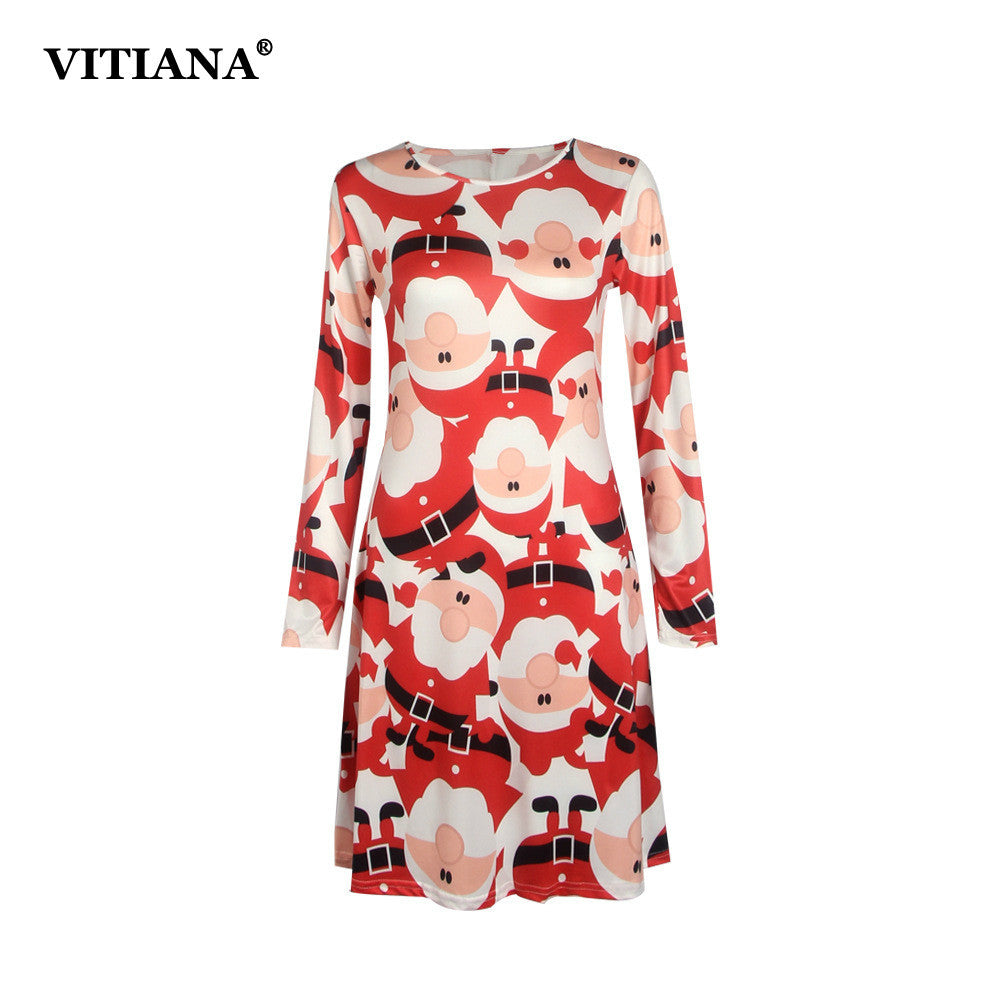 PREMIUM Plus Size S-5XL Winter Christmas Party Dress Women Long Sleeve O-Neck Casual Print Dresses Cute Cartoon New Year Clothing - Blindly Shop