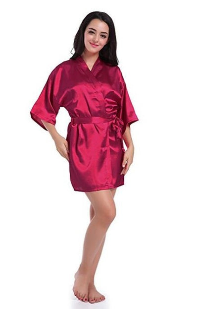 Sexy Satin Night Robe Lace Bathrobe Perfect Wedding Bride Bridesmaid Robes Dressing Gown For Women - Blindly Shop