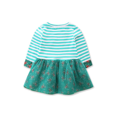 PREMIUM Toddler Kids Baby Girls Autumn Striped Dress Casual Long Sleeve Christmas Clothes For Infant 1-7T - Blindly Shop