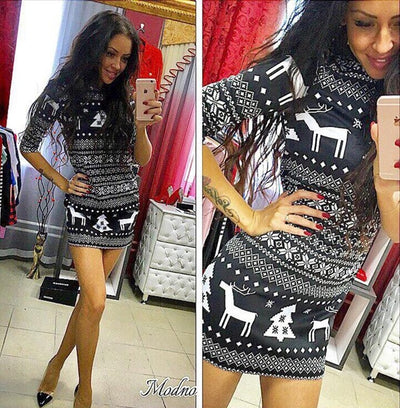Women Casual Dress Christmas Deer Printed Floral O-Neck Three Quarter Sleeve Party Dresses. - Blindly Shop