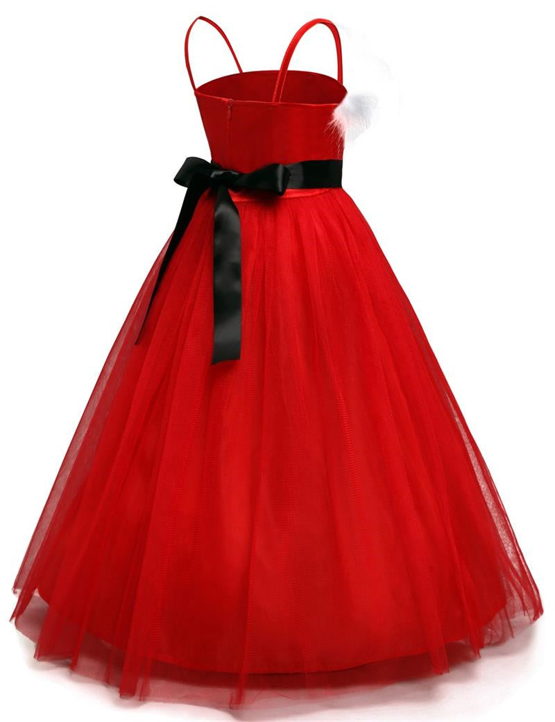 premium winter red dress infant kids dresses for christmas party baby clothes baptism costume for events - Red Dress For Christmas Party