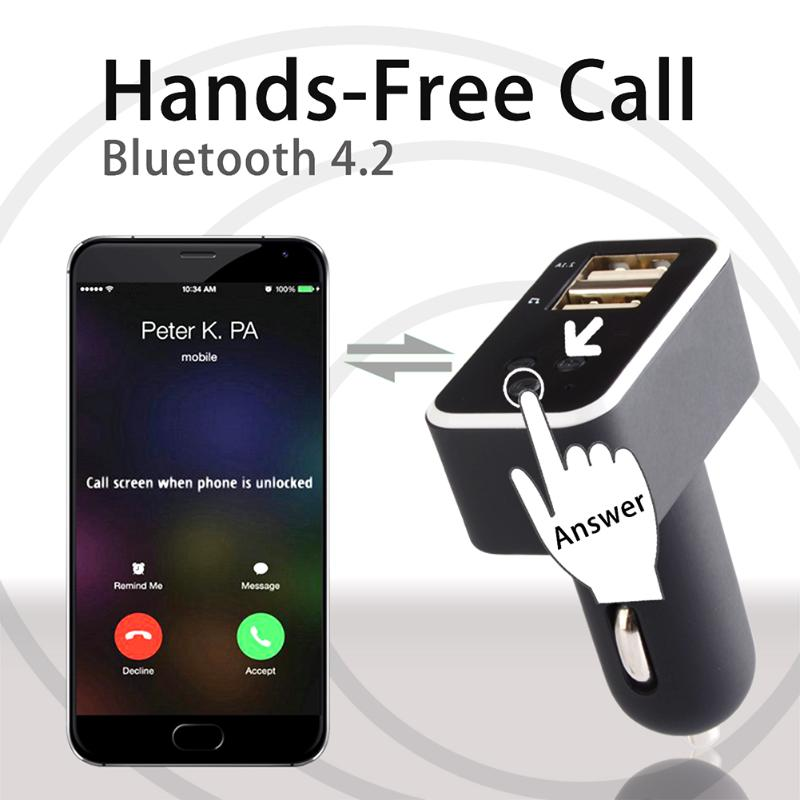 Wireless Bluetooth FM Transmitter with Dual USB Charging Ports LCD Display Hands Free Phone Calling - Blindly Shop