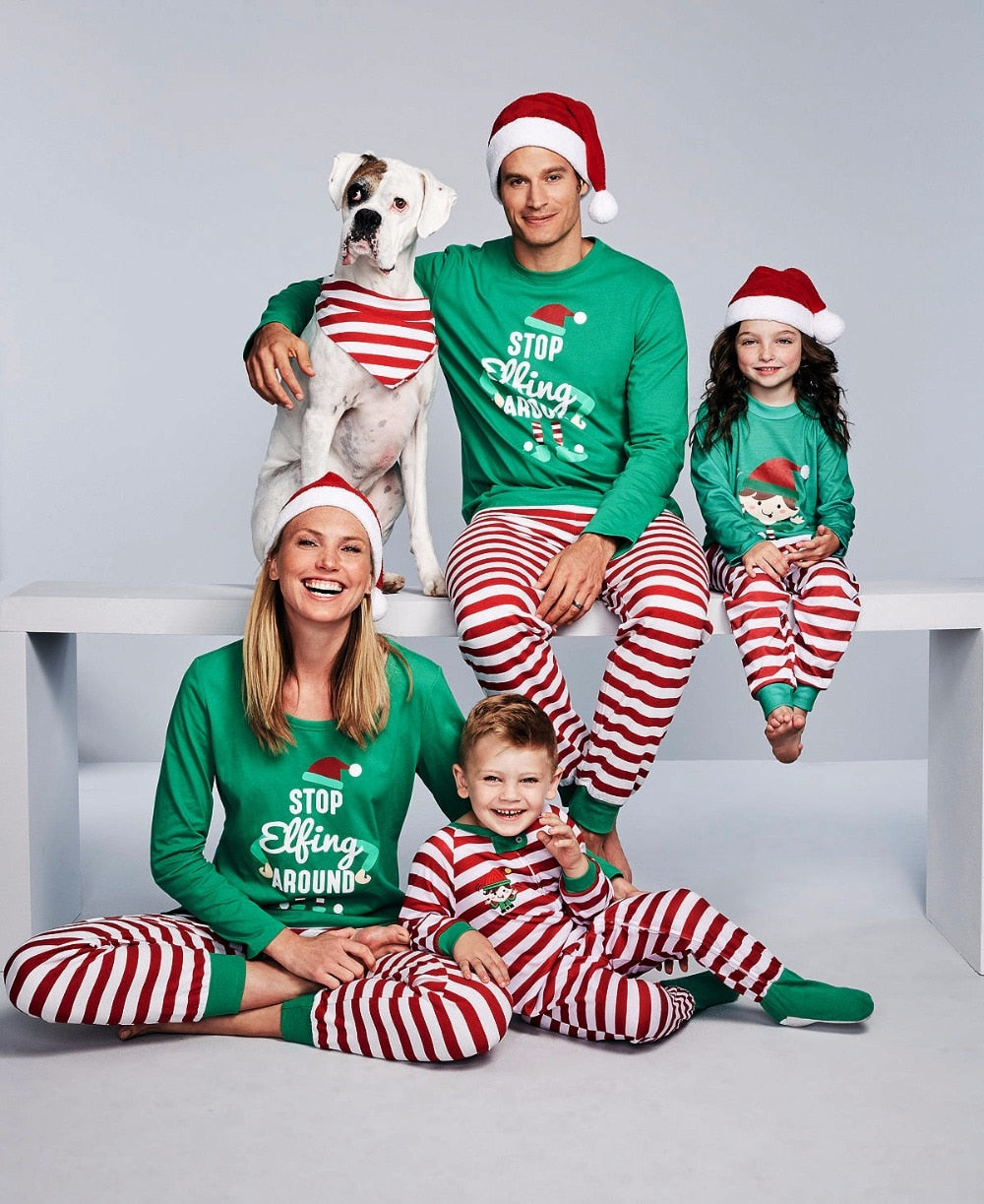 Family matching striped pajama set - Christmas dress - Blindly Shop