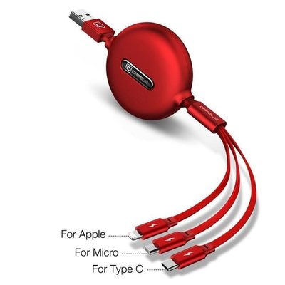 3in1 USB Fast charging Type C, Micro USB, Lightening for iPhone Charger Cable - Blindly Shop
