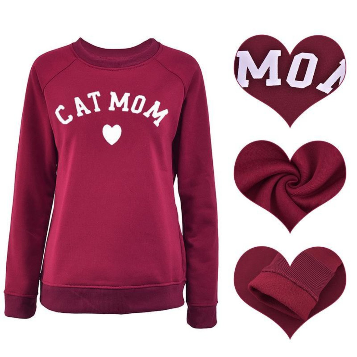 Cat Mom Fashionable Heart - Shaped Print Women Sweatshirt - Blindly Shop