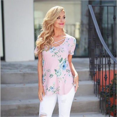 Casual Cross V-Neck floral designer Tops Tees for Female - Blindly Shop