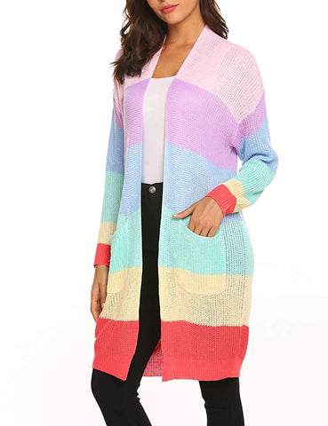 You Light Up My World Striped Rainbow Cardigan