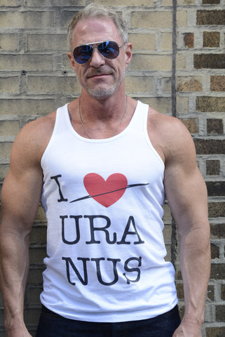 Jeff wears an S size I love Uranus vest/tank top