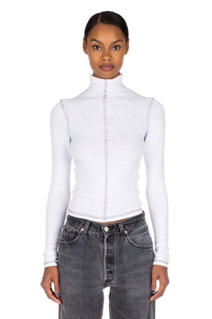 CONTRAST ROLLNECK - White