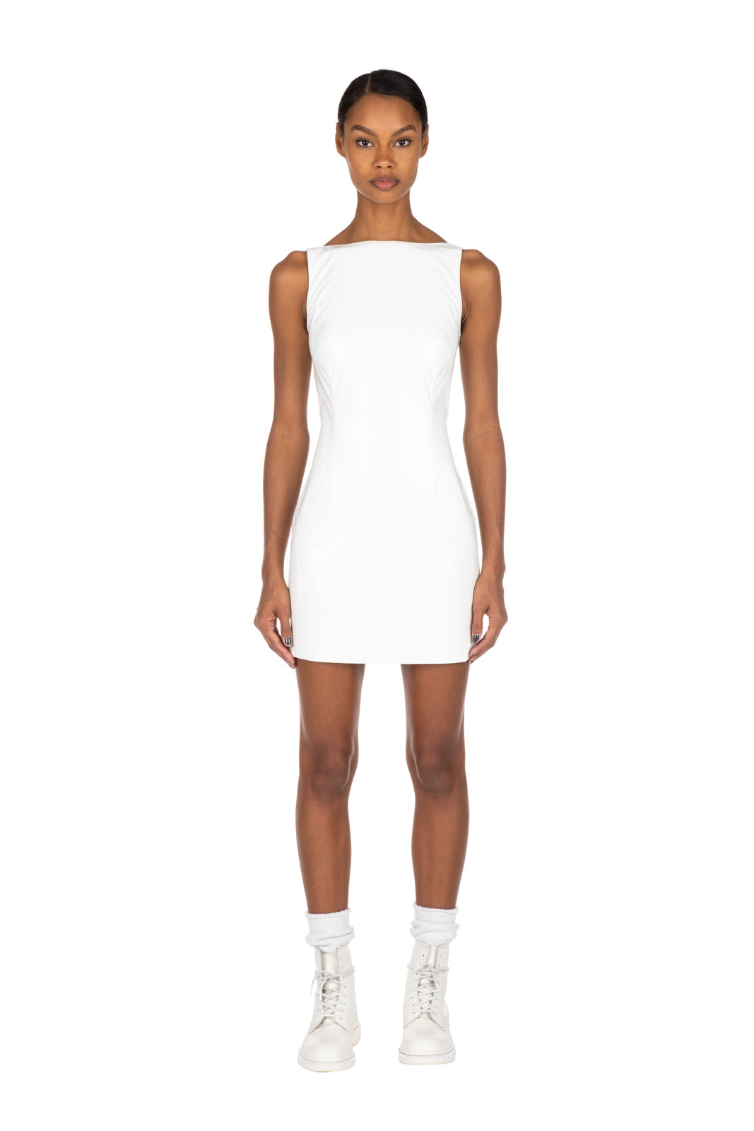 PATENT MINI DRESS - White