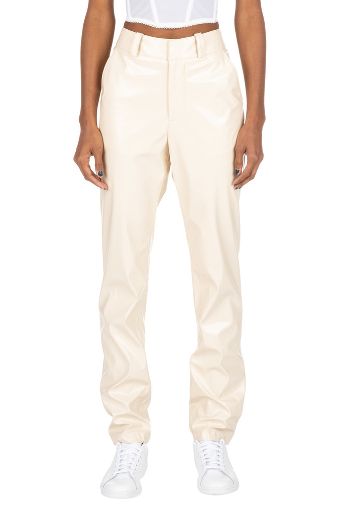 PATENT TROUSERS - Beige