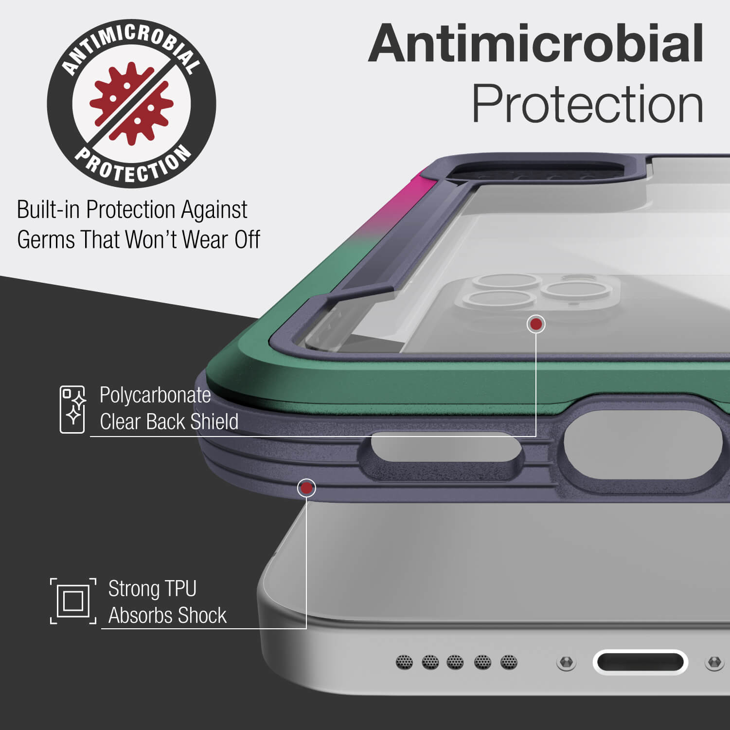 Infographic showing Anti-bacterial protection and polycarbonate backing. Metal trims around the edges of the case