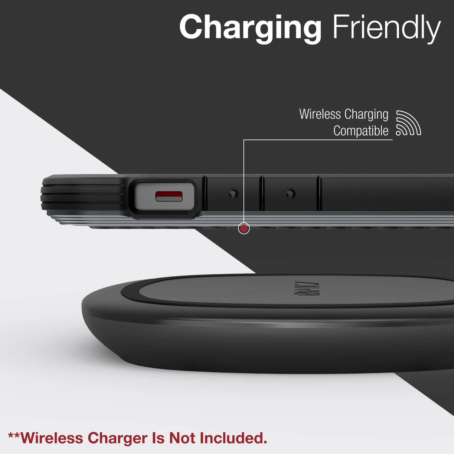 Infographic showing the iPhone 12 in a black Raptic Shield case with wireless charging compatibility