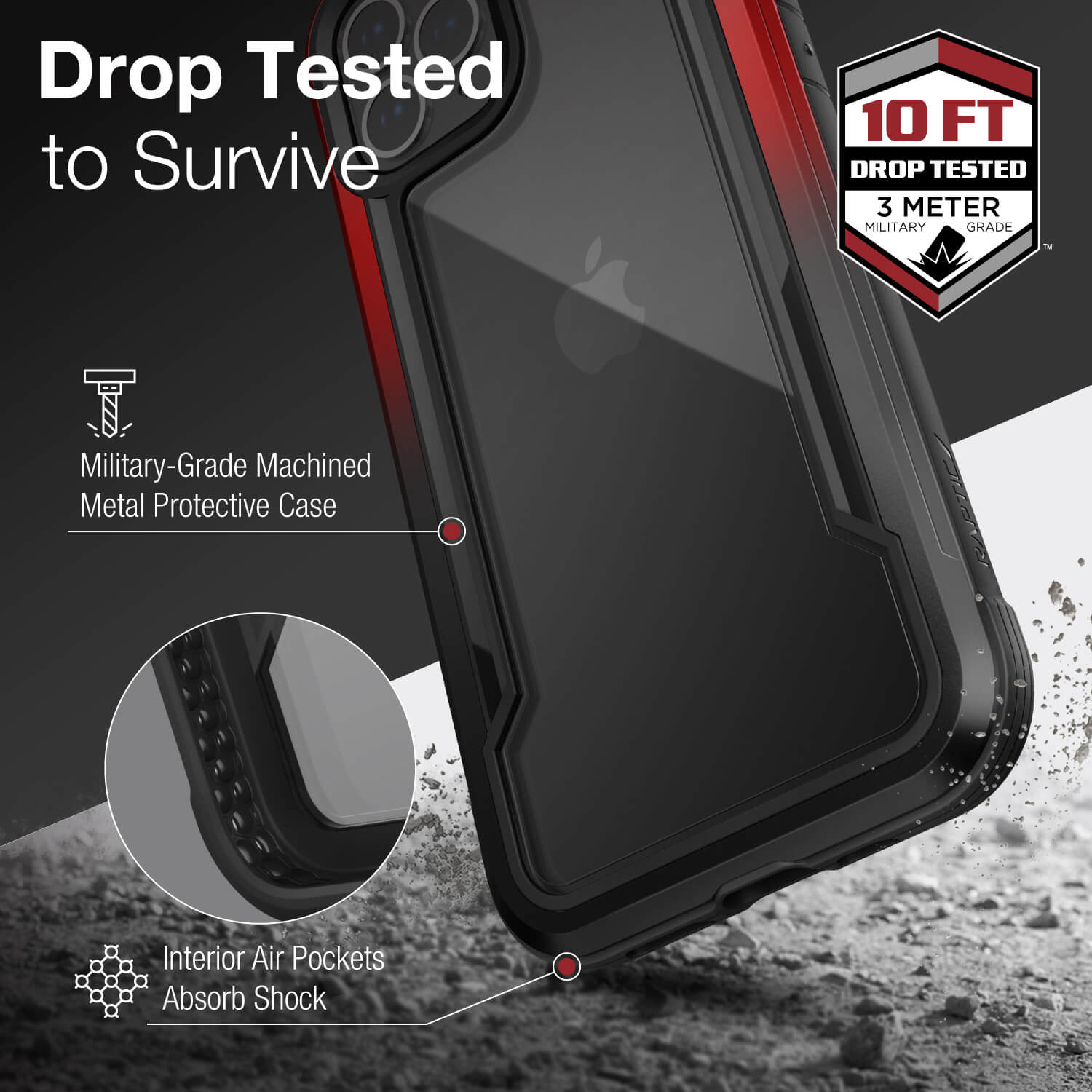 Inforgraphic showing an iPhone 12 in a Black Red Gradient Raptic Shield case that is tested to survive up to three metre drops