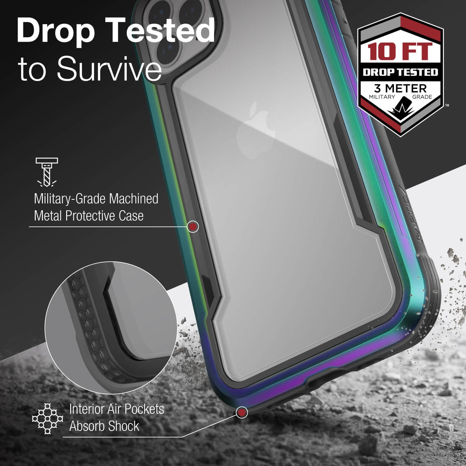 Infographic showing an iPhone 12 in an Iridescent coloured Raptic Shield case that is tested to survive up to 3 metre drops