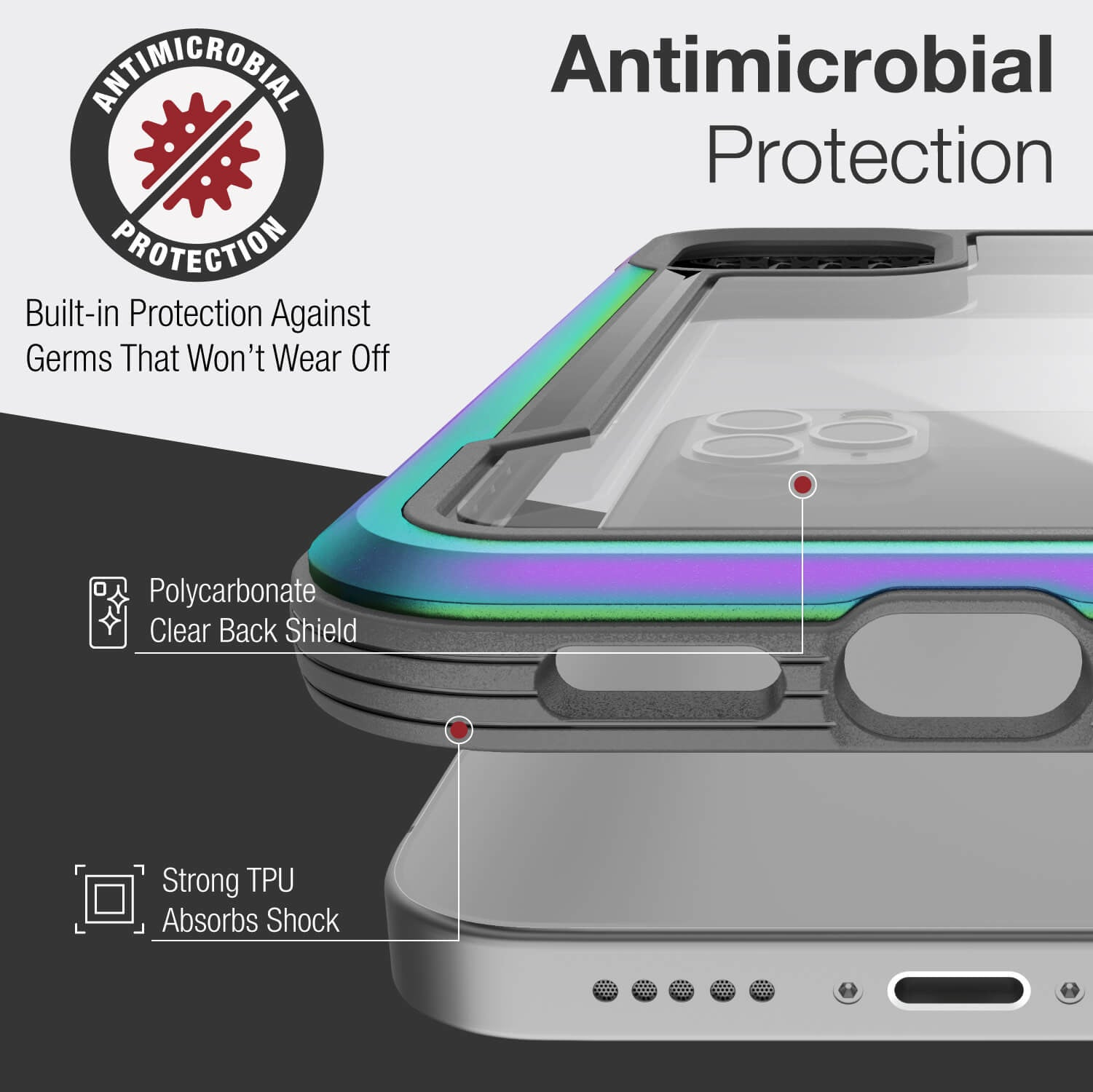 Infographic showing an iPhone 12 in an Iridescent coloured Raptic Shield Case with anti-bacterial shield that ensures the case is germ-free