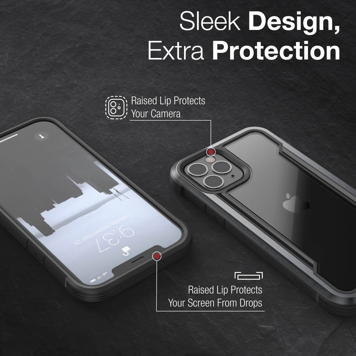 Infographic showing iPhone 12 in a black Raptic Shield case. Features shows its sleek looks that blends in with the iPhone 12